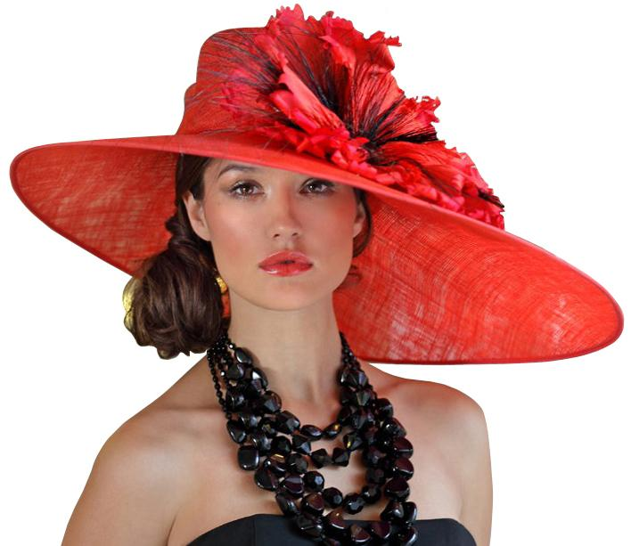 Lady wearing a stylish red hat